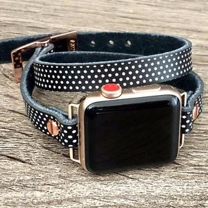 Rose Gold Apple Watch Leather Band Polka Dots Wrap